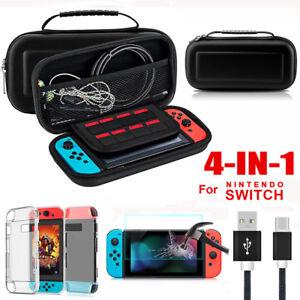 Fuer-Nintendo-Switch-Tasche-Bag-EVA-Case-Schutzhuelle-Ladekabel-Temper-Glass-Folie