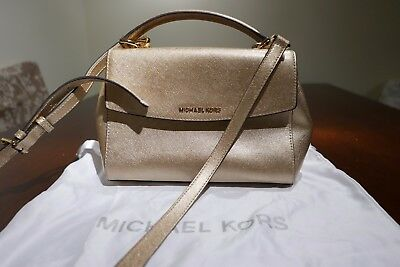 MICHAEL KORS AUTHENTIC SAFFIANO SMALL GOLD LEATHER TOTE SATCHEL FREE SHIP