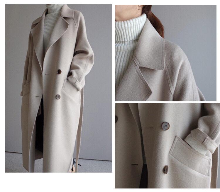 Womens Cashmere Wool Blend Lapel Trench Outwear Maxi Long Belt Oversize Coat New
