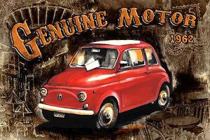 Dettagli su Bresso Sola: Auto Genuine Motore Nero Barella-Immagine Schermo  Fiat 500 Antica