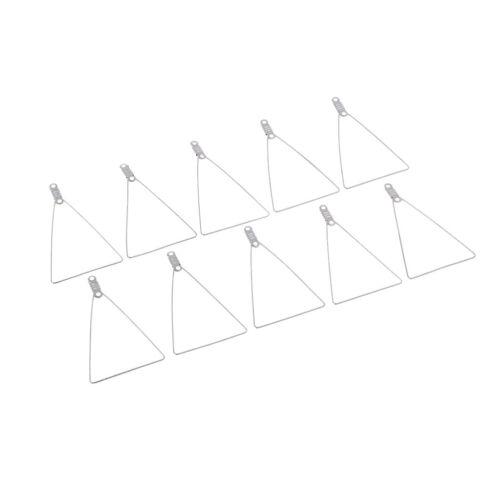 10 Stück Silber Kupfer abnehmbare Dreiecksform Ring Hoop Anhänger Rohlinge