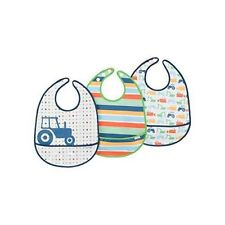 Baby Boys Lightweight for comfort 6-12 Months 2-Pack Wipe clean and reuse Blue Whales//Blue Chevron Kushies Cleanbib Waterproof Feeding Bib with Catch All//Crumb Catcher pocket