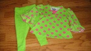 BOUTIQUE CORKY'S KIDS 12M 12 MONTHS GREEN POLKA DOT SET