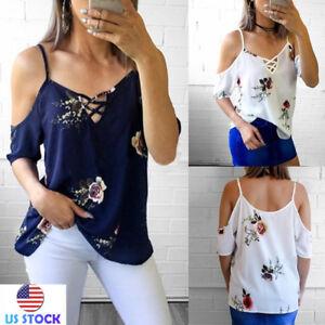 Casual-Women-Sling-Floral-Print-Short-Sleeve-T-Shirt-Cold-Shoulder-Top-Blouse-US