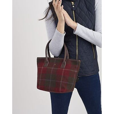 Joules Womens Carey Tweed Grab Bag ONE in RED CHECK in One Size