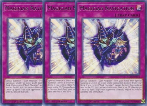Yugioh Magician Navigation X3 Rare LED6 1st Edition Mint Playset