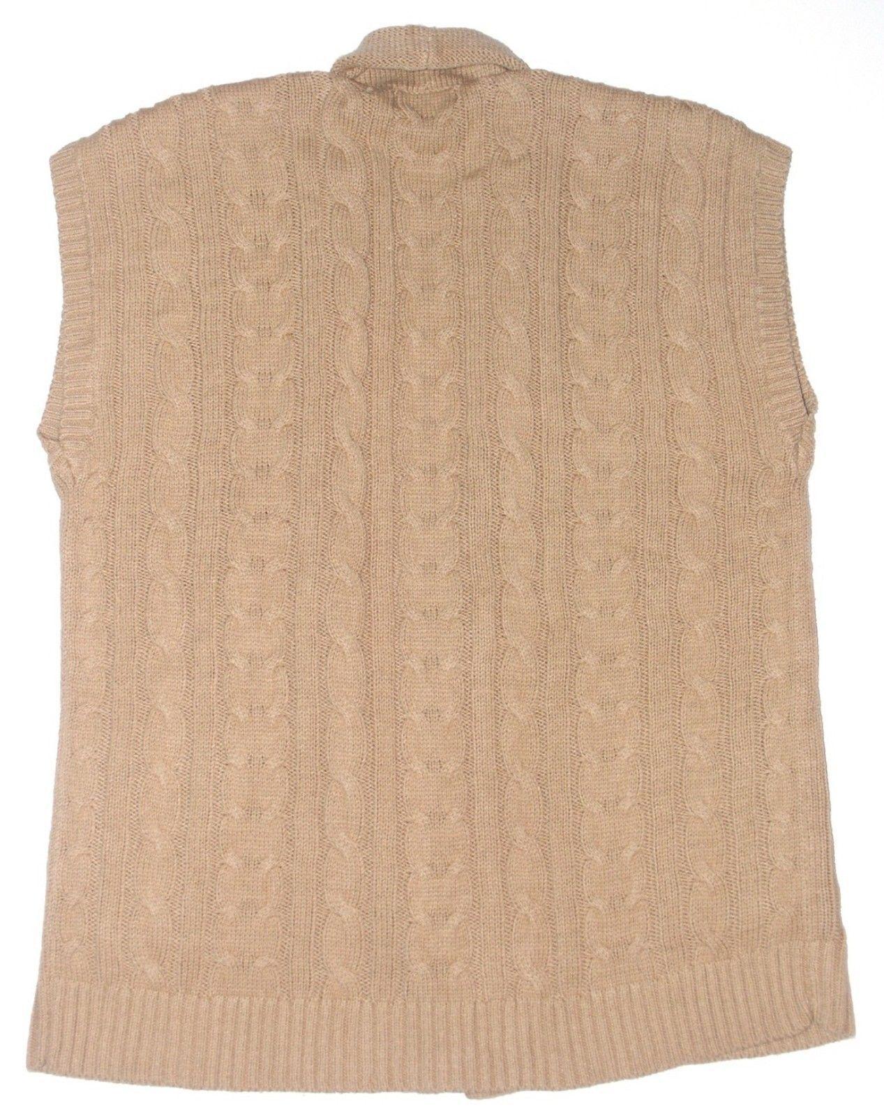 Chaps Womens Camel Tan Sweater Open Vest S M XL NEW