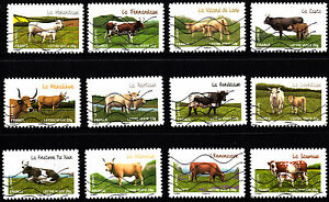 France-2014-Cows-Complete-Set-of-Stamps-P-Used-S-A