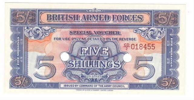 England BRITISH ARMED FORCES 5 Shillings aUNC Banknote (1948) P- M20 CD/2 Prefix
