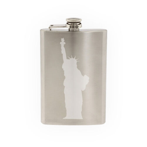Famous Statue #4 Statue of Liberty Manhattan New York-8 oz etched flask