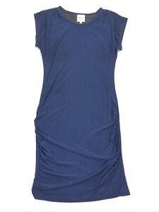 Misa-Los-Angeles-Women-s-Rouche-Cap-Sleeve-Dress-Navy-Blue-Medium
