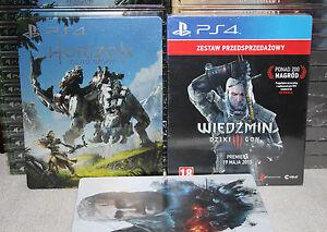 The Witcher 3  Steelbook PS4 + Horizon Zero Dawn Steelbook PS4 (No Game) New !