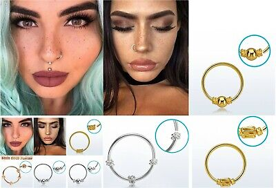 1sterling Silver Nose Ring Hoop 8mm 10mm Small Thin Piercing Stud