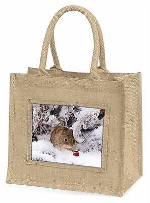 Cute Spielfeld Maus im Schnee Große Natürliche Jute-einkaufstasche
