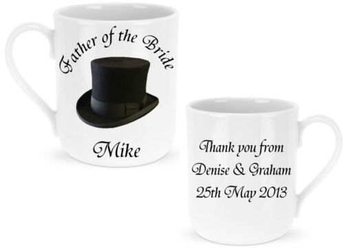 Personalised Mug Father of the Bride  Groom  Best Man  Wedding Favour Gift