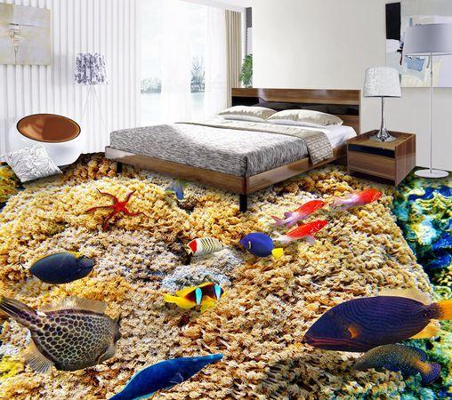 3D Ocean Benthos Fish Floor WallPaper Murals Wall Print Decal 5D AJ WALLPAPER