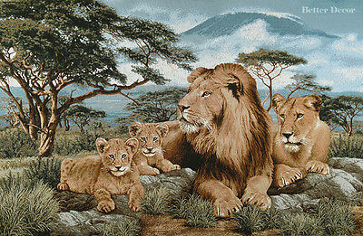 "41"" WALL JACQ. WOVEN TAPESTRY Lions in Savanna EUROPEAN WILD LIFE ANIMAL PICTURE"