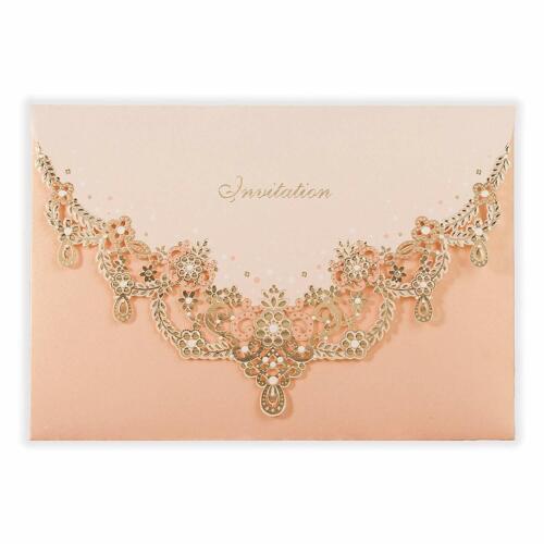 Blush Pink Floral Laser Cut Wedding Shower Engagement Invitations with Envelopes