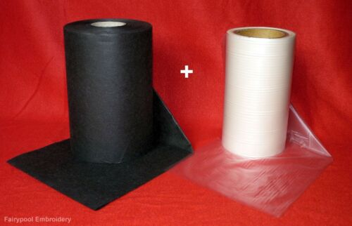 3m x 20cm Black Embroidery Stabiliser Backing /& Water Soluble Solvy 3m x 20cm