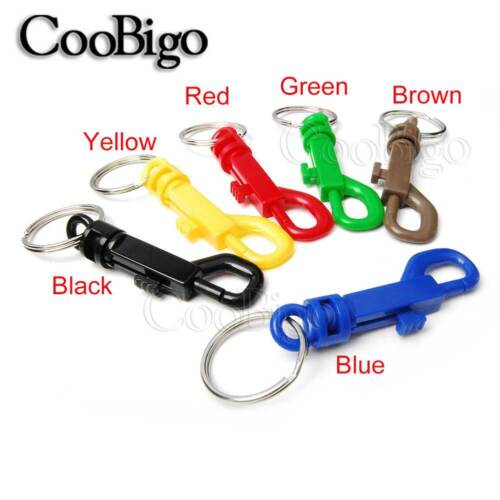 10x Colorful Plastic Snap Hooks With O-Ring Split KeyChain Key Ring Backpack