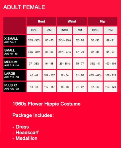 Ladies Flower Hippie 60s 70s Costume 1960s Retro Groovy Hippy Disco Fancy Dress