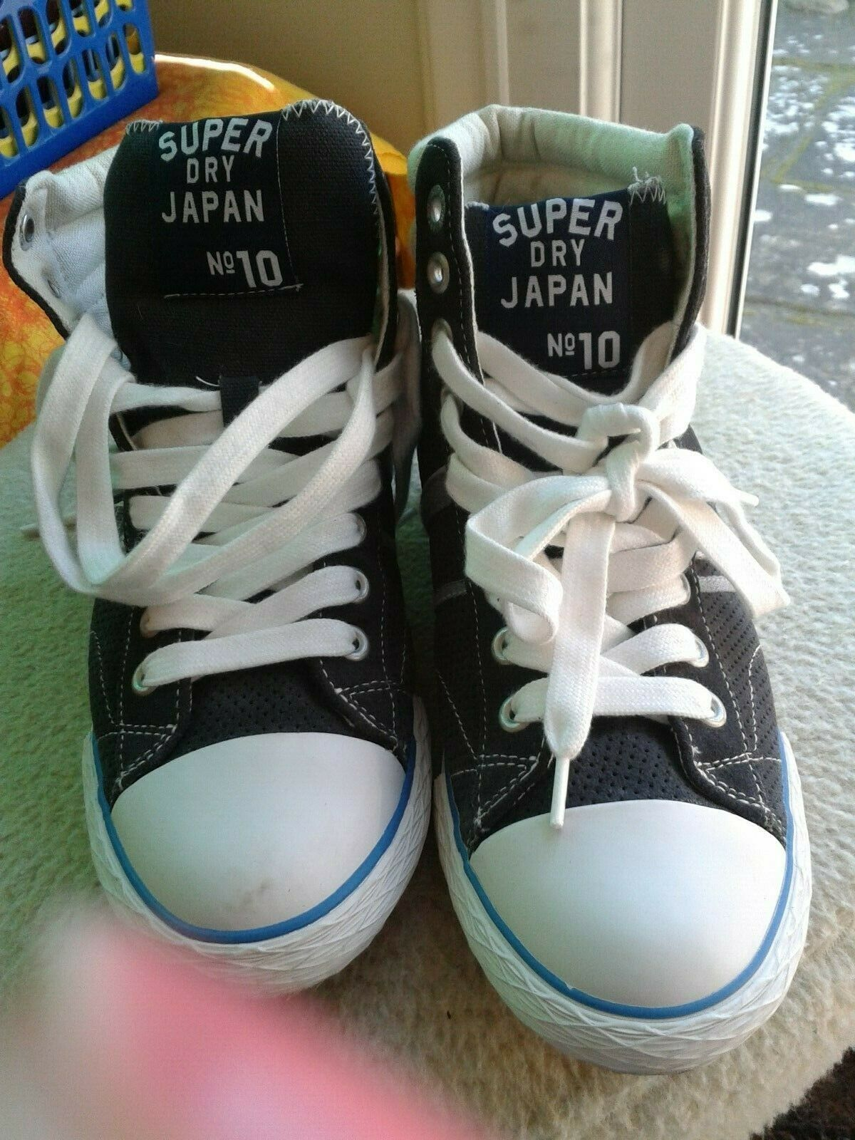 Super Dry Black & White Hi-Top Trainers   Leather & Canvas Uppers   UK5 EU38