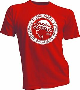 f3d667eaa Olympiacos FC Greece Football Soccer T Shirt Futbol Men s Handmade ...
