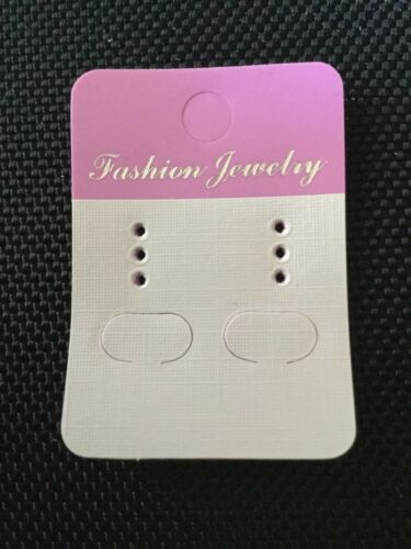 100 x Earring Display Cards White /& Pink with 100 Rubber Backs Stud Hook UN045