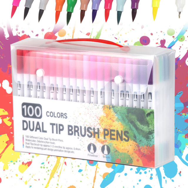 Premier Icon Dual Tipped Brush And Fine Point Tipped Assorted Art Markers 10pk