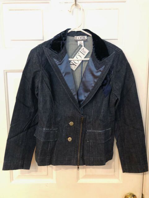 RANDOLPH DUKE THE LOOK WOMEN'S DEEP V NECK BLUE JEAN JACKET SIZE 8 NWT