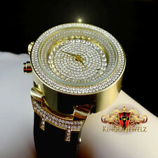 Mens 14k Yellow Gold Finish Lab Diamond Iced Out Silicon Strap Jojo Jojino Watch