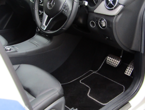 VAUXHALL ZAFIRA 2012-2018 BLACK 6 PIECE MATS WITH SILVER TRIM 4 front clips