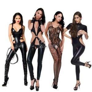 8a904a632ea Women s Sissy Wet Look Bodysuit Shiny Leather Catsuit Playsuit Club ...