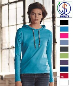 acbfc9187598 Image is loading Anvil-Women-039-s-Lightweight-Long-Sleeve-Hooded-