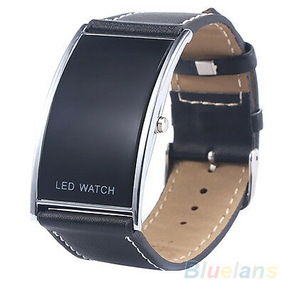 Men's Women's Hot Fashion Arch Bridge LED Digital Date Faux Leather Wrist Watch