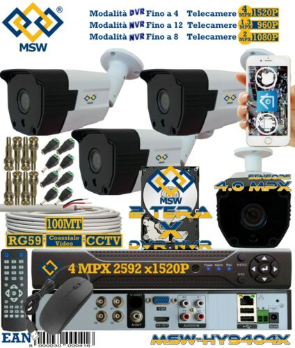 DVR 4 Canali 1520P 4 MP Con HD 2 Tera Con 4 Telecamere Bullet 4 MP P2P CLOUD IP