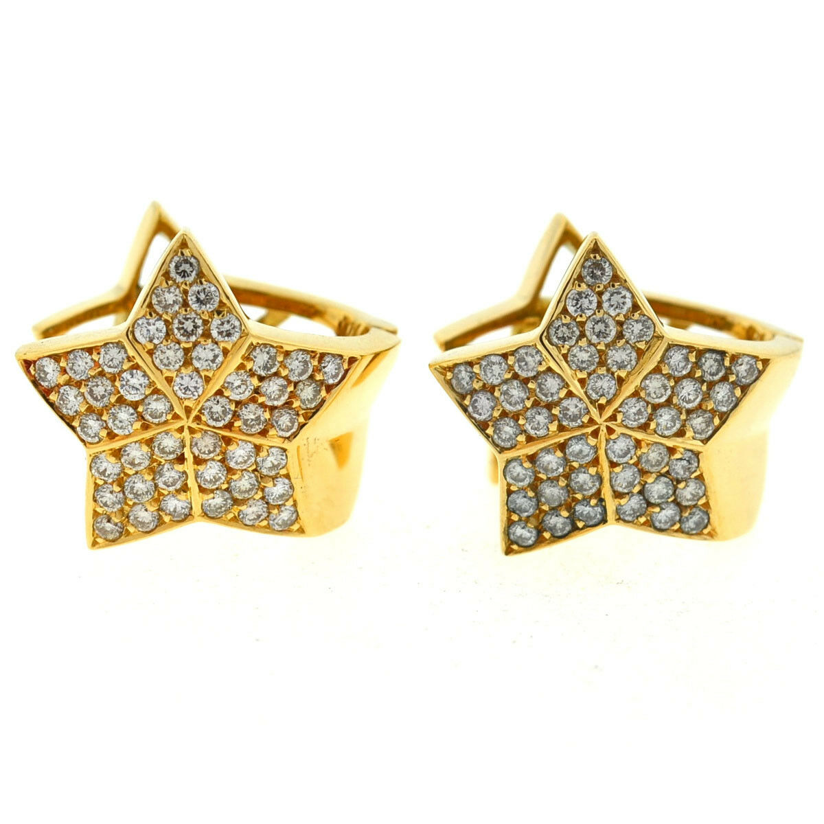 18k Yellow gold Pave Star Diamond Earrings