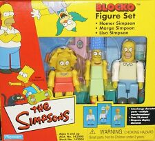 Simpsons Blocko Figure Set NIB Homer Marge Lisa Simpson Playmates