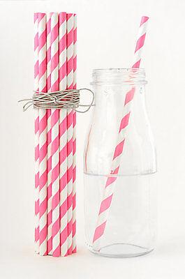 50x pink striped drinking straws wedding birthday party baby shower decoration