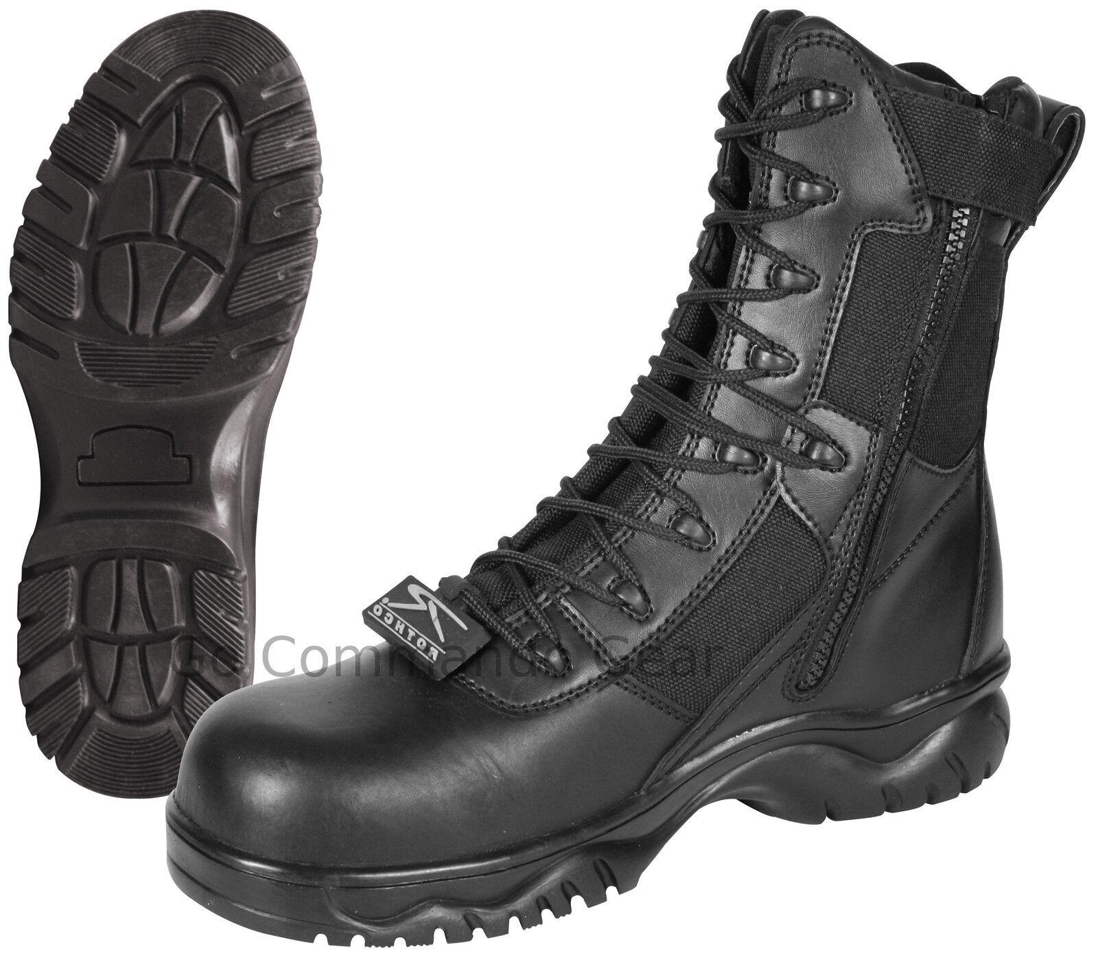 Entrada 8 forzada de 8 Entrada Negro Tactical Bota W / cremallera lateral y Composite Toe-Policial Swat 9f41fb