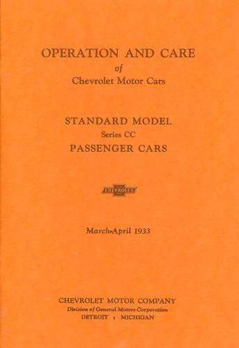 1933 CHEVROLET PASSENGER CAR  OWNERS MANUAL-STANDARD