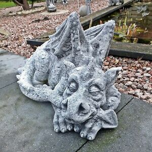 Steinfigur Großer Drache Drachen Gartenfigur Tierfigur Steinguss