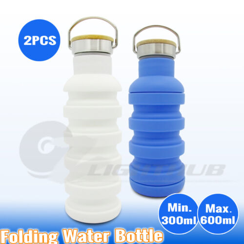 2x Collapsible Silicone Folding Hiking Water Bottle Outdoor Sport Camping Kettle