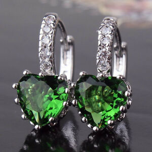 Image Is Loading Real 18ct White Gold Filled Emerald Green Heart