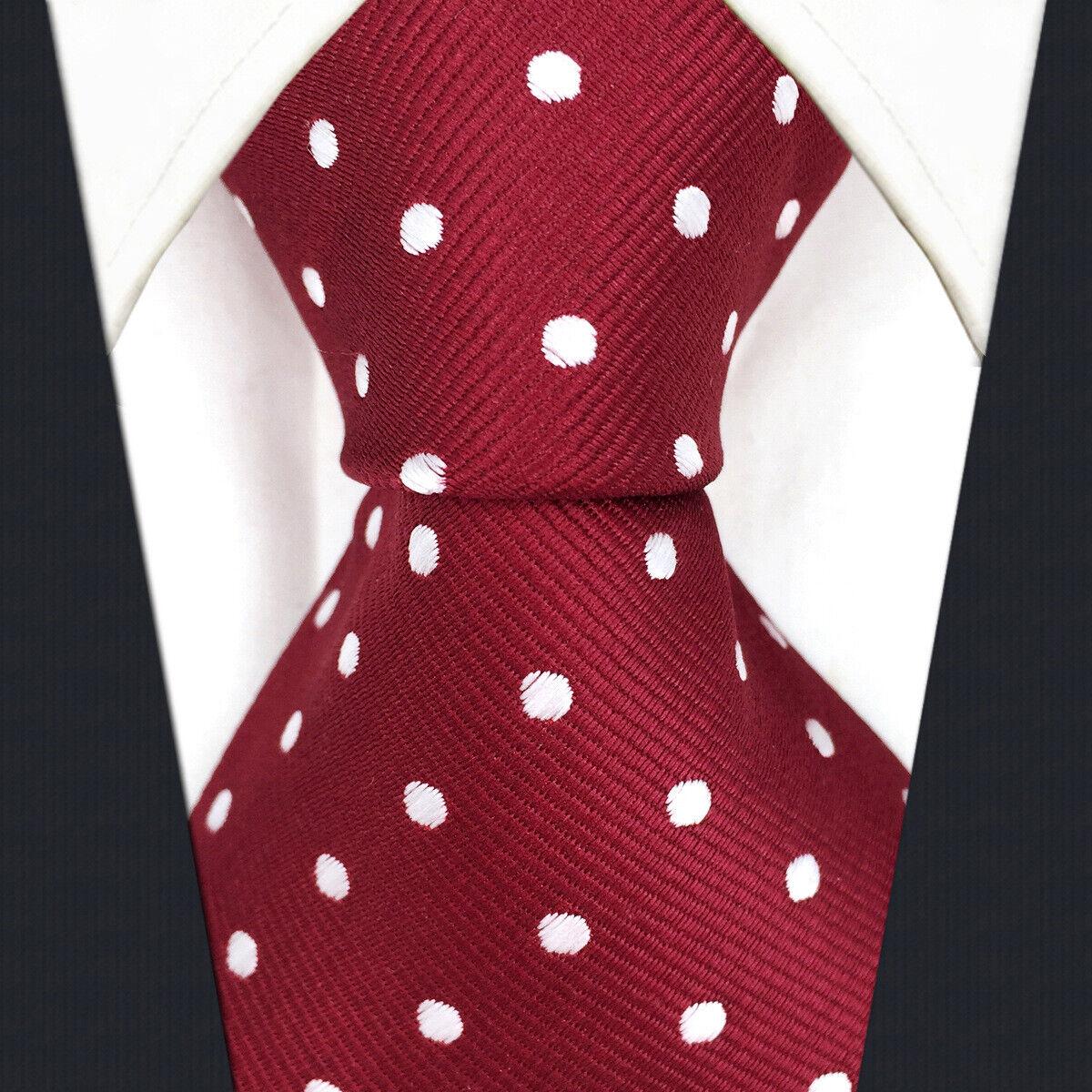 S15 Men's Tie Silk Extra Long Size Dots Red Crimson Classic Design Wedding New