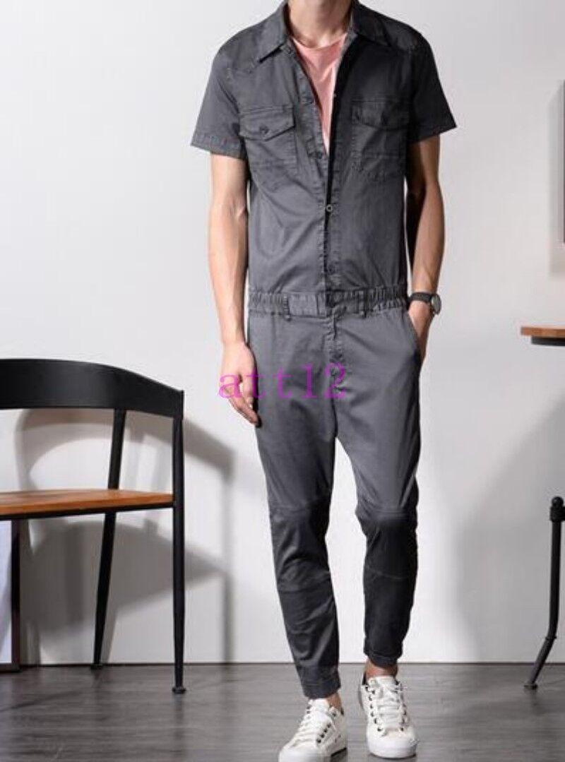 New Mens Jumpsuits Work Cotton Blend Cargo Short Sleeve One-Piece Summer Pants