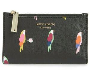 Kate-Spade-Parrots-Bird-sylvia-flock-party-small-slim-bifold-wallet-NWT