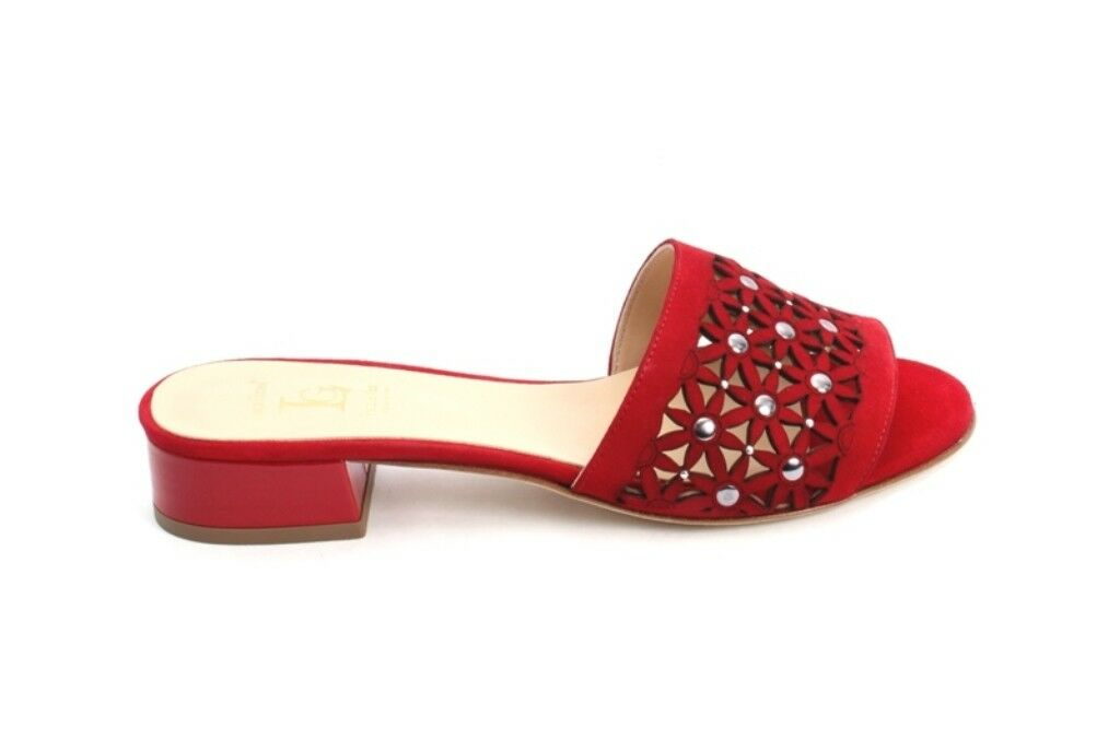 Luca Grossi 918a Red Suede Patent Leather Leather Leather Heel Slides Sandals 40   US 10 e1f064