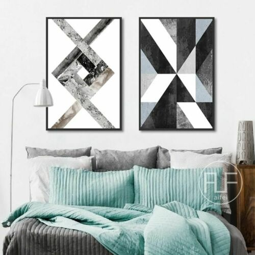 Abstract Geometric Canvas Painting Black White Nordic Poster Prints Wall Picture