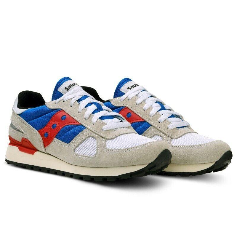 Zapatos Saucony Shadow Original hombres Camoscio Tela gris rojo Ammortizzata